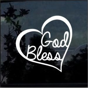 God Bless Heart Vinyl Window Decal Sticker