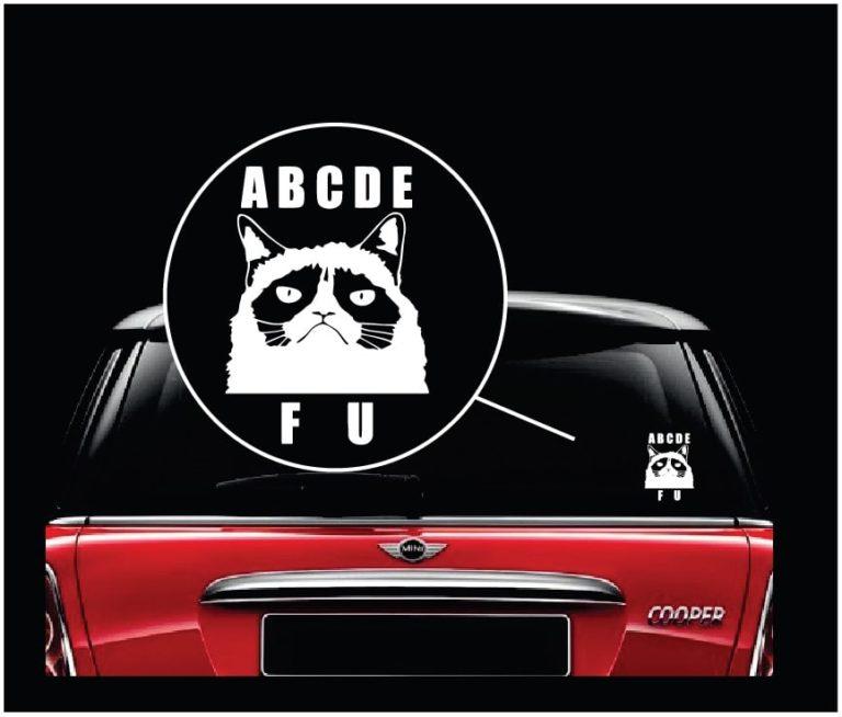 Grumpy cat abcd fu vinyl window decal sticker