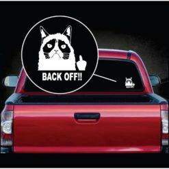 Grumpy Cat Back OFF flipping the bird Vinyl Window Decal Sticker