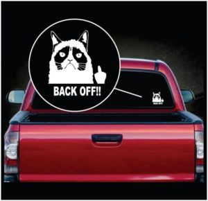 Grumpy Cat Back OFF flipping the bird Vinyl Window Decal Sticker