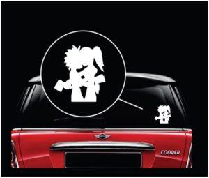 Hatchetman Hatchetgirl Kissing Window Decal Sticker