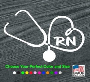 Heart Stethoscope RN Nurse Vinyl Decal Stickers