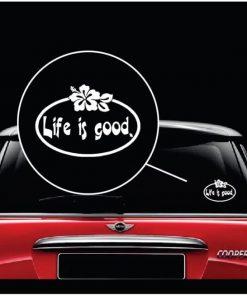 Life Is Good Hibiscus Flower Vinyl Window Decal Sticker