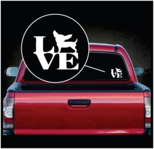 Love Chihuahua Vinyl Window Decal Sticker