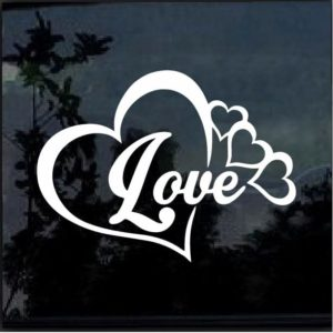 Love Hearts Vinyl Window Decal Sticker
