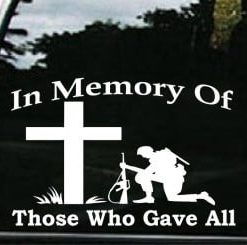 Memory of those who gave all Decals