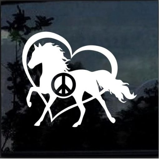 PEACE LOVE AND HORSES Vinyl Decal Sticker