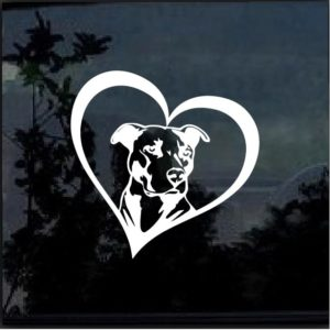 PITBULL HEART Vinyl Window Decal Sticker