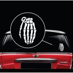 Skeleton Hand Grenade Window Decal Sticker
