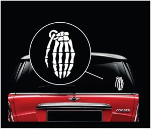 Skeleton Hand Grenade Window Decal Sticker