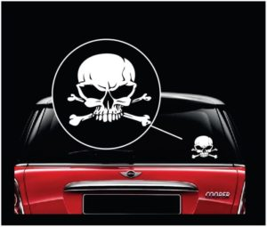 Skull and Cross Bones Vinyl Window Decal Sticker a2