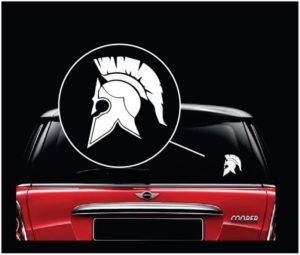 Spartan Helmet Molon Labe Window Decal Sticker