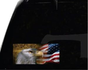 We the people eagle and flag vinyl window decal bumper sticker