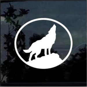 Wolf Howling Vinyl Window Decal Sticker a2