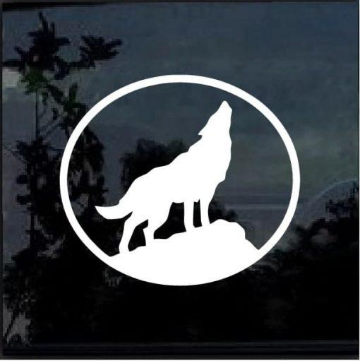 Wolf Howling Vinyl Window Decal Sticker a2