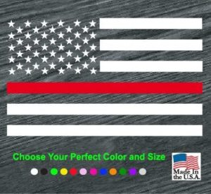 fireman flag red line decal sticker