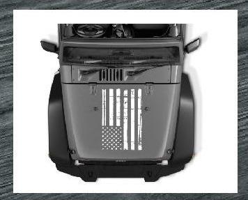 jeep hood weatherd flag decal sticker