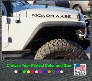 jeep molon labe hood set decal stickers