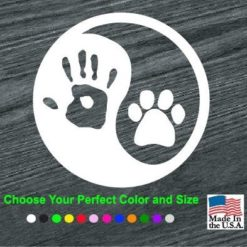 ying yang human hand paw print decal sticker