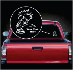 Calvin Pee On Your Custom Text Vinyl Decal Sticker