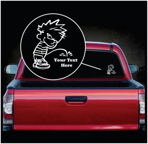 Calvin Pee On Your Custom Text Vinyl Decal Sticker