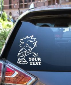 Calvin pee on your text window decal sticker