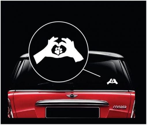 Love Animals Paw Print Heart Car Window Decal Sticker