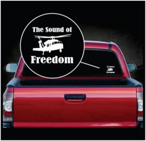 The sound of Freedom Helicopter Window Decal Sticker