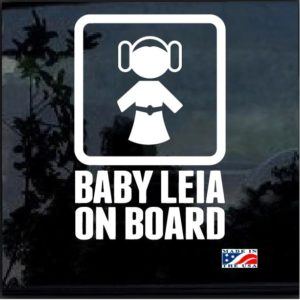 Baby Princess Leia On Board Decal Sticker