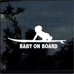 Baby on board surfing surf decal sticker
