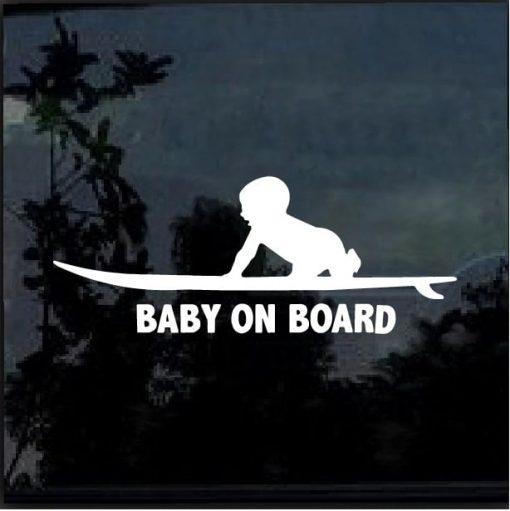 Baby on board surfing surf decal sticker