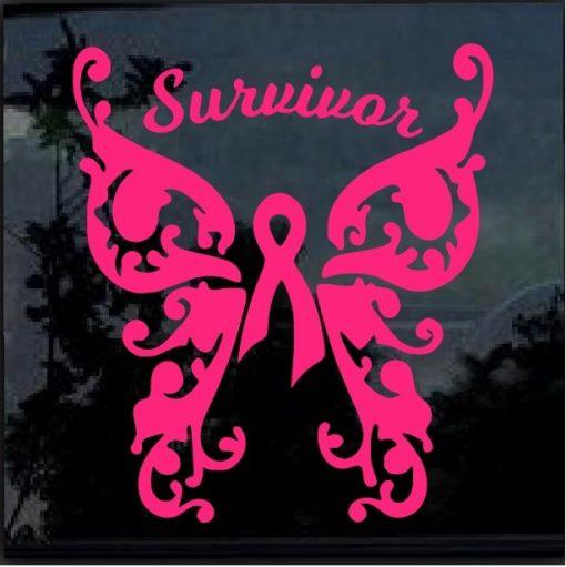 Breast Cancer Awareness Pink Ribbon Survivor Decal Sticker