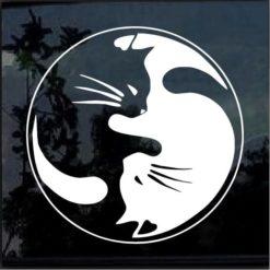 Cat yin yang ying yang decal sticker