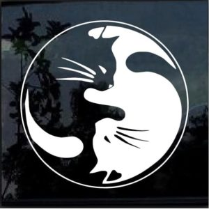 Cat yin yang ying yang decal sticker