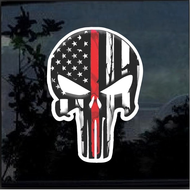 Chris Kyle Punisher Thin Red Line color Decal Sticker – Custom