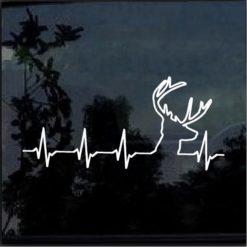 Deer heartbeat buck hunting decal sticker
