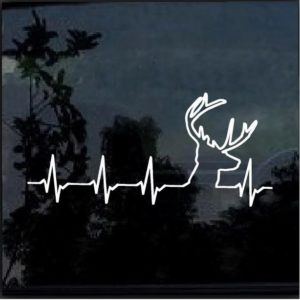 Deer heartbeat buck hunting decal sticker