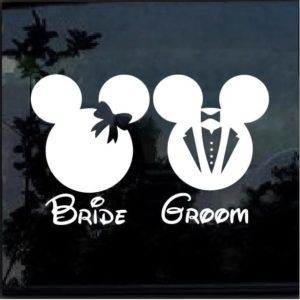 Disney Mickey Minnie Mouse Bride Groom Decal Sticker