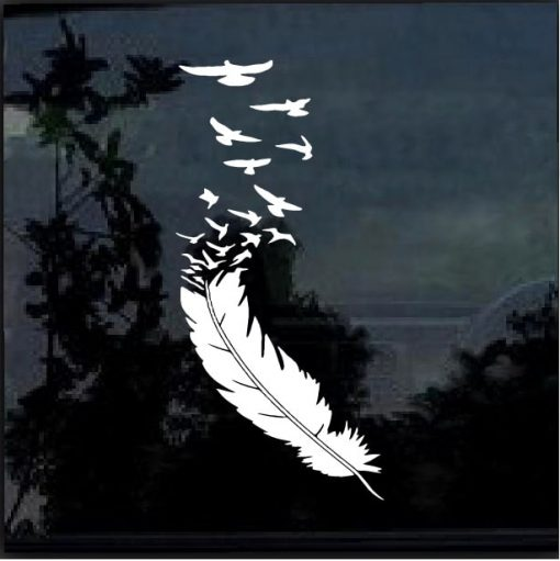 Feather With Birds Decal Sticker