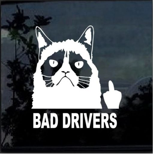 Grumpy Cat Fuck Bad Drivers - Car Window Decal Sticker