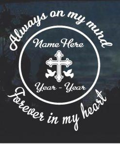 Cross Dove In Loving Memory Window Decal Sticker