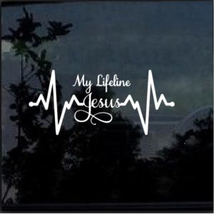 Jesus is my Lifeline Heartbeat Decal Sticker