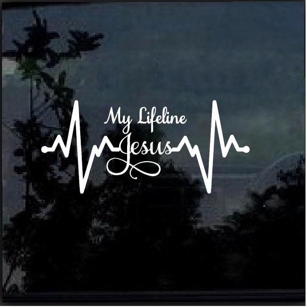 Jesus Is My Lifeline Heartbeat Decal Sticker Custom