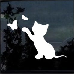 Kitten and Butterfly decal sticker