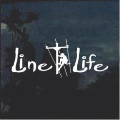 Line Life Lineman Window Decal Sticker