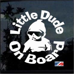 Little Dude on Board Round Decal Sticker