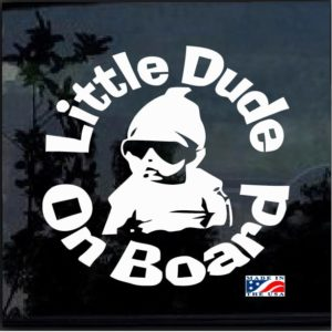 Little Dude on Board Round Decal Sticker