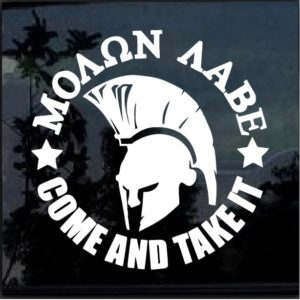 Molon Labe Come Take it round decal sticker