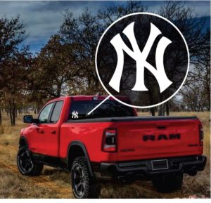NY Yankees Truck Window Decal Sticker
