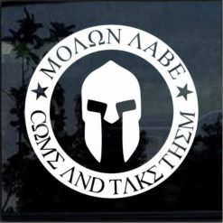 Spartan Helmet Molon Labe Come take them Decal sticker
